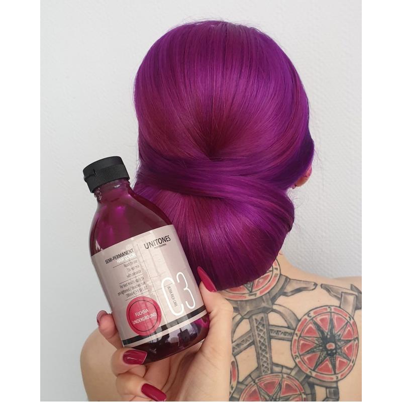 Фиолетовая краска для волос Unitones 280ml - Fuchsia Underground - Большая туба - СВЕТИТСЯ В УФ