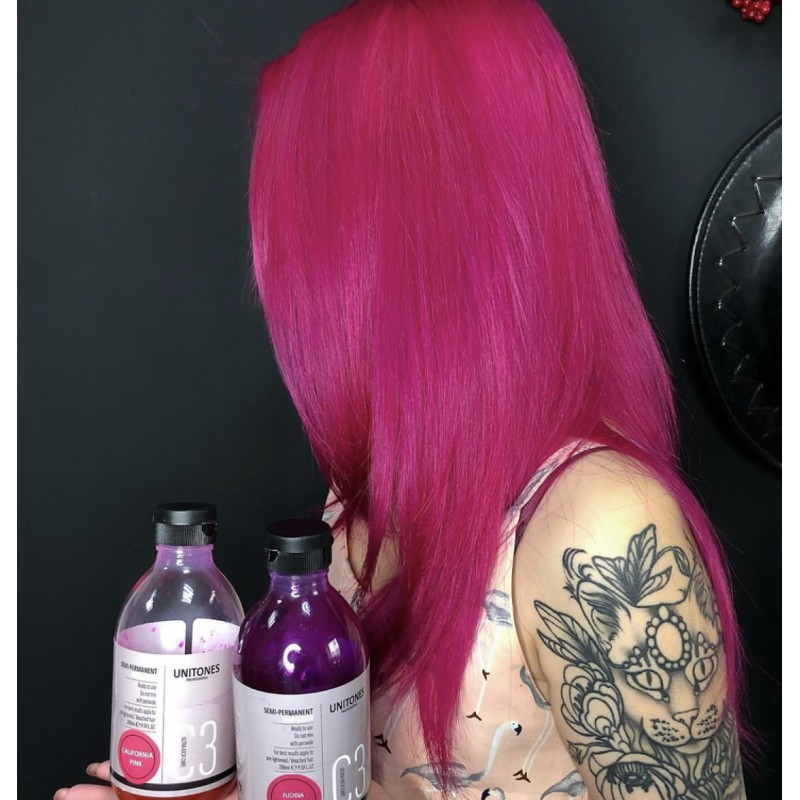 Розовая краска для волос Unitones 280ml - California Pink - Большая туба - СВЕТИТСЯ В УФ